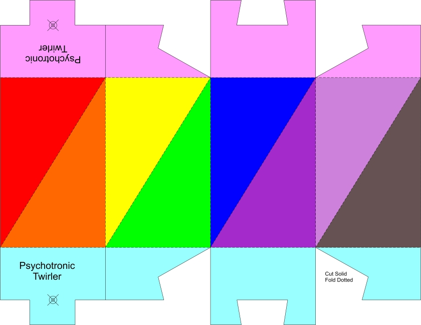 Twirler dual pyramid color & tuck ends template 8.5 x 11